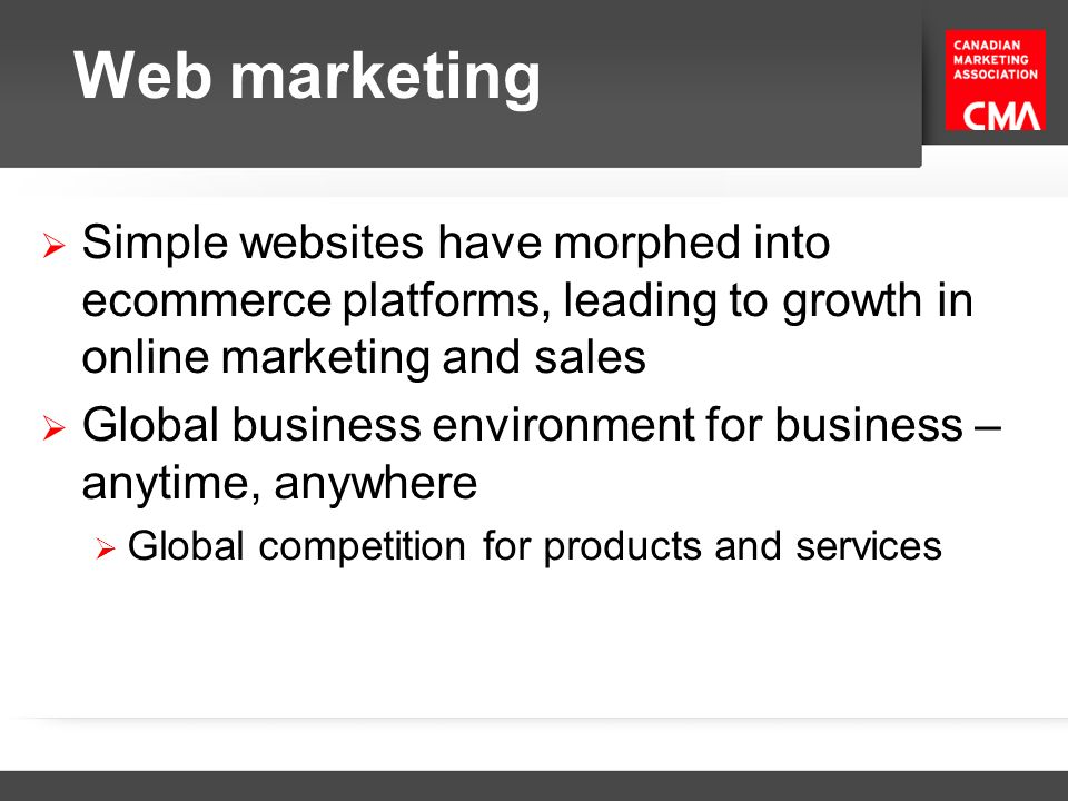 Web marketing Simple websites have morphed into ecommerce platforms, leading to growth in online marketing and sales.