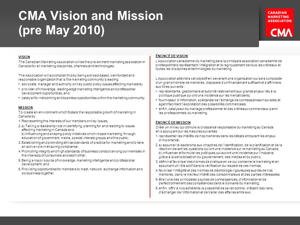 CMA Vision and Mission (pre May 2010)