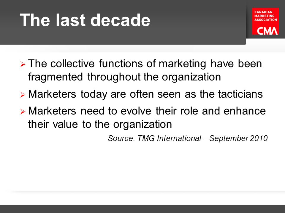 The last decade The collective functions of marketing have been fragmented throughout the organization.