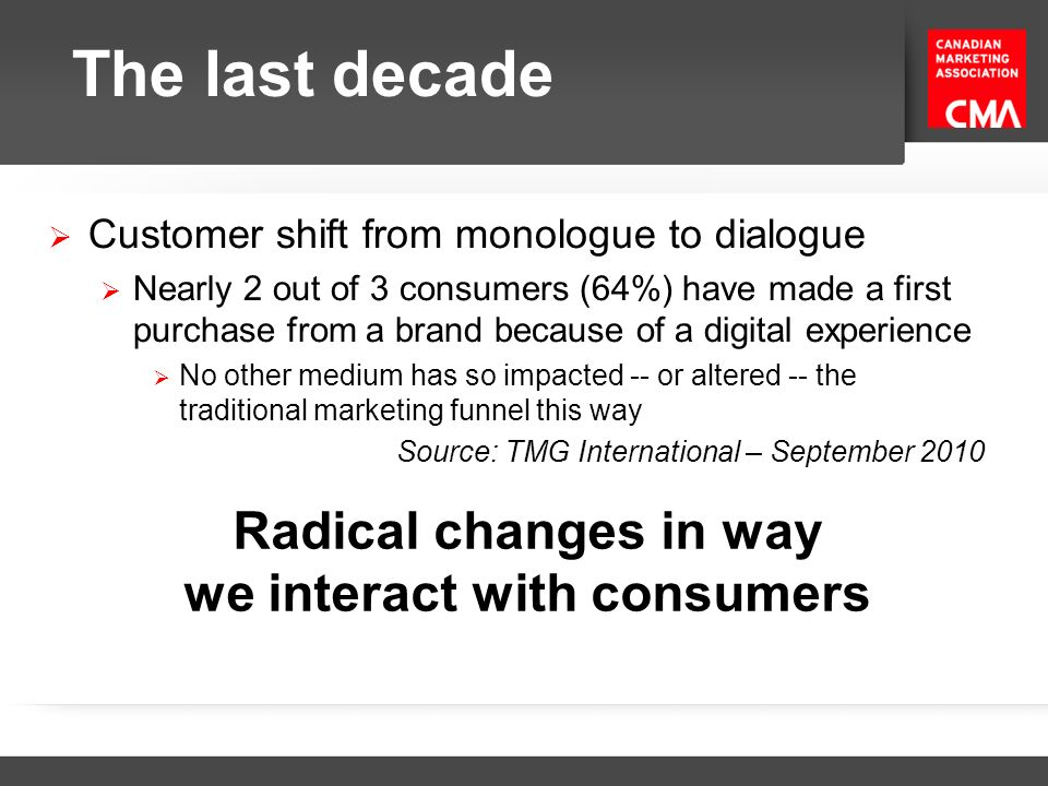 Radical changes in way we interact with consumers