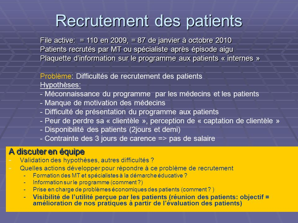 Recrutement des patients