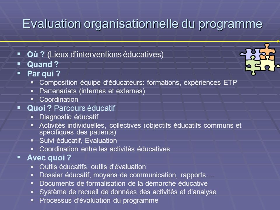 Evaluation organisationnelle du programme