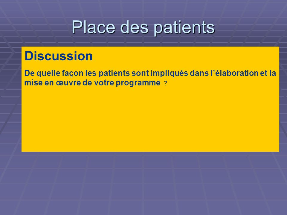 Place des patients Discussion