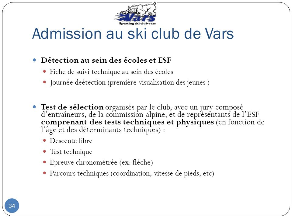 Admission au ski club de Vars