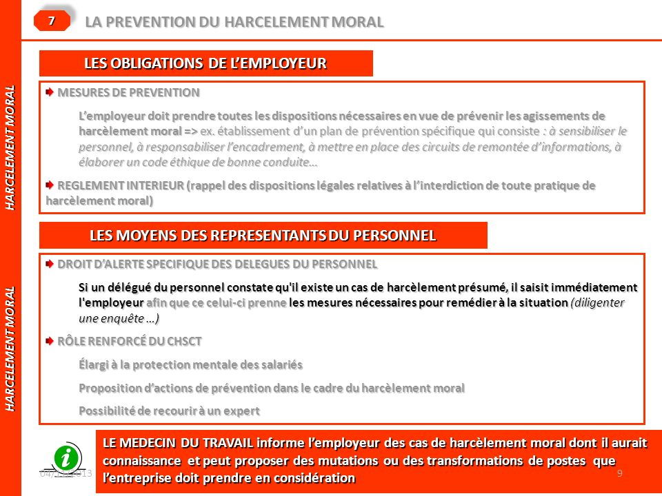 LA PREVENTION DU HARCELEMENT MORAL