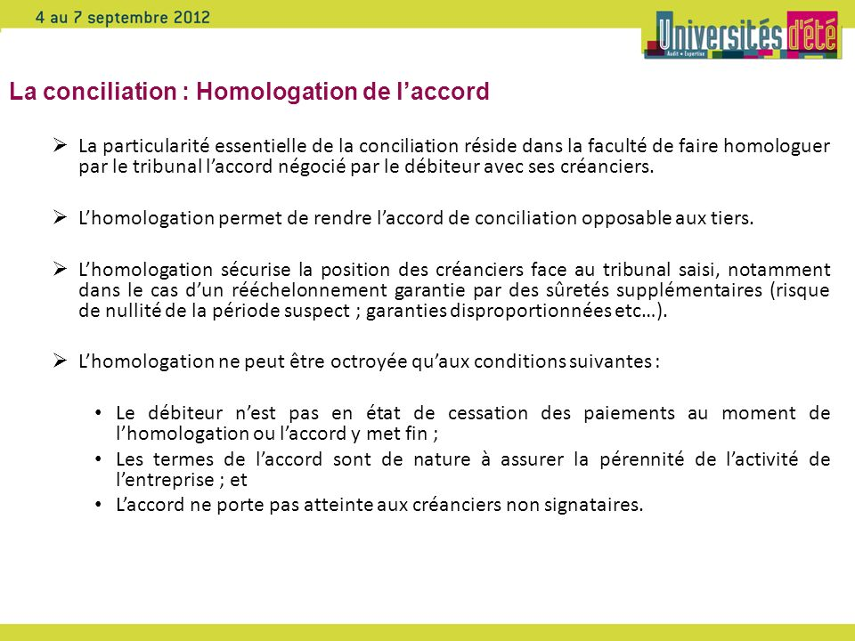 La conciliation : Homologation de l'accord
