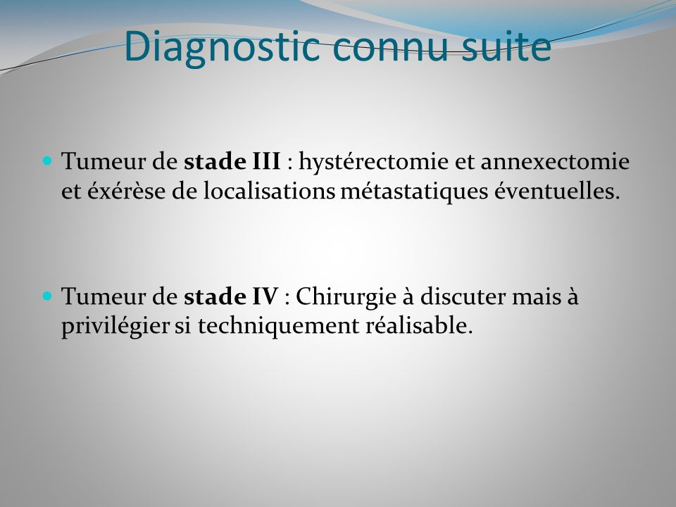 Diagnostic connu suite