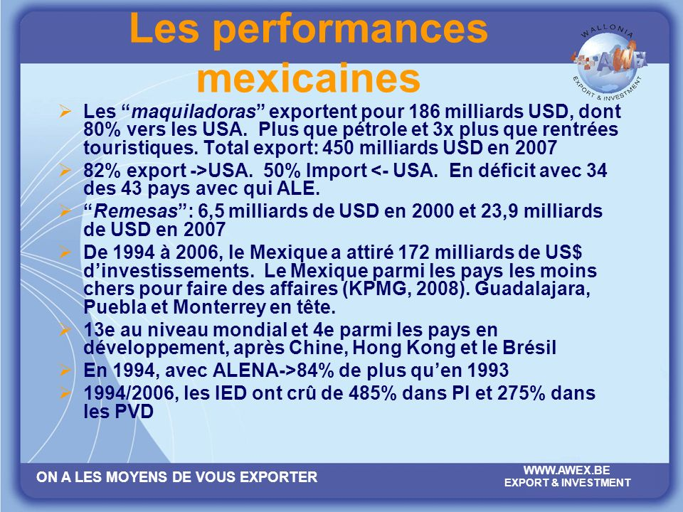 Les performances mexicaines