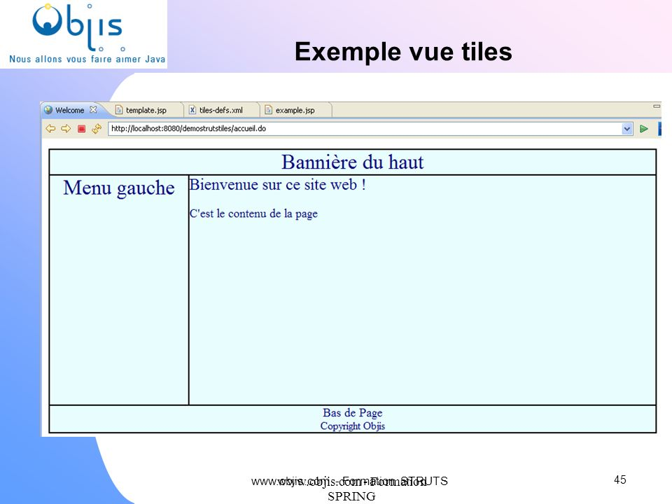 Exemple vue tiles   - Formation SPRING