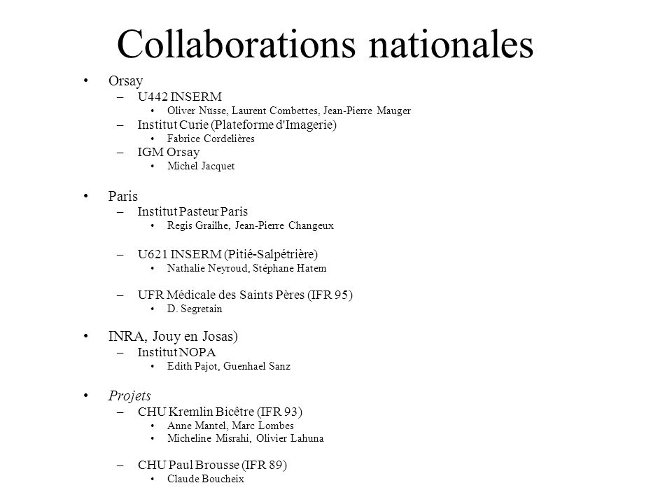 Collaborations nationales
