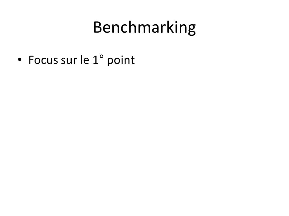 Benchmarking Focus sur le 1° point