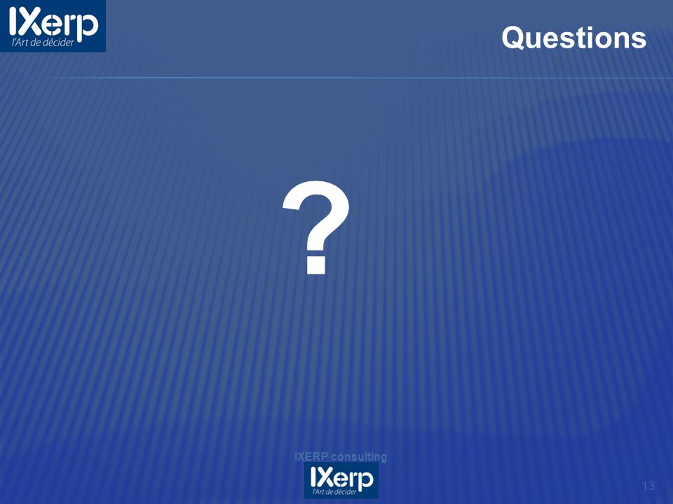 Questions IXERP consulting