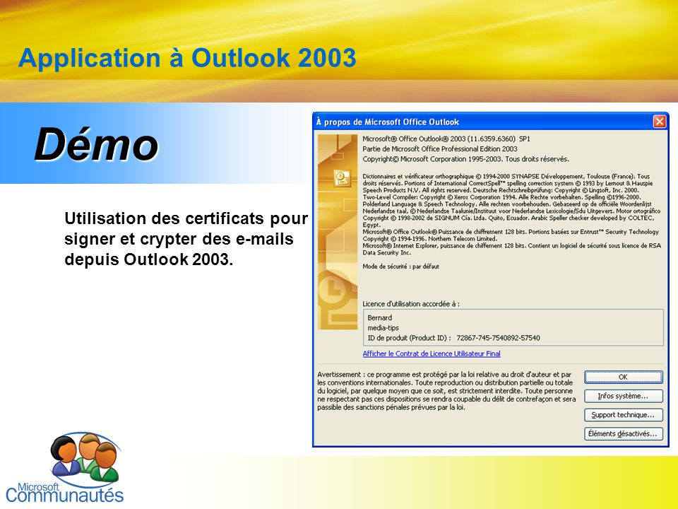 Démo Application à Outlook 2003