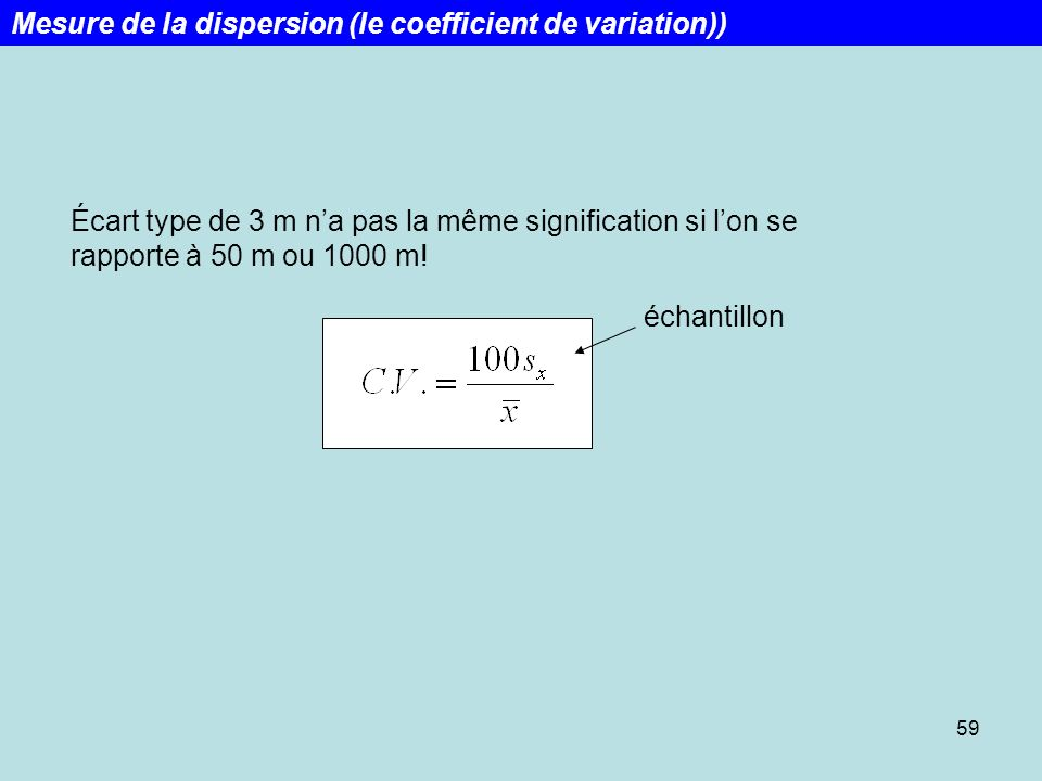 Mesure de la dispersion (le coefficient de variation))