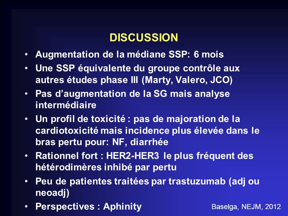 DISCUSSION Augmentation de la médiane SSP: 6 mois