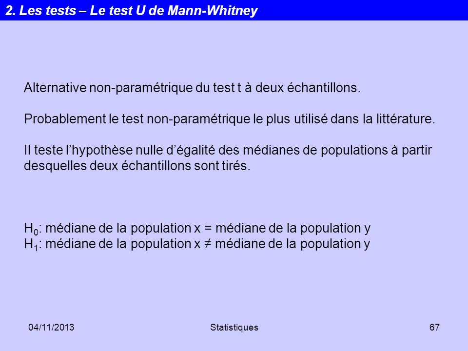 2. Les tests – Le test U de Mann-Whitney