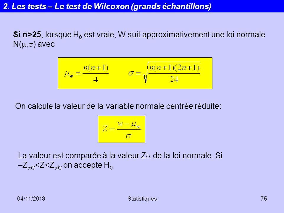 2. Les tests – Le test de Wilcoxon (grands échantillons)