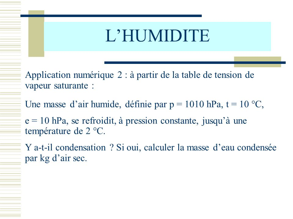 L'HUMIDITE Application numérique 2 : à partir de la table de tension de vapeur saturante :