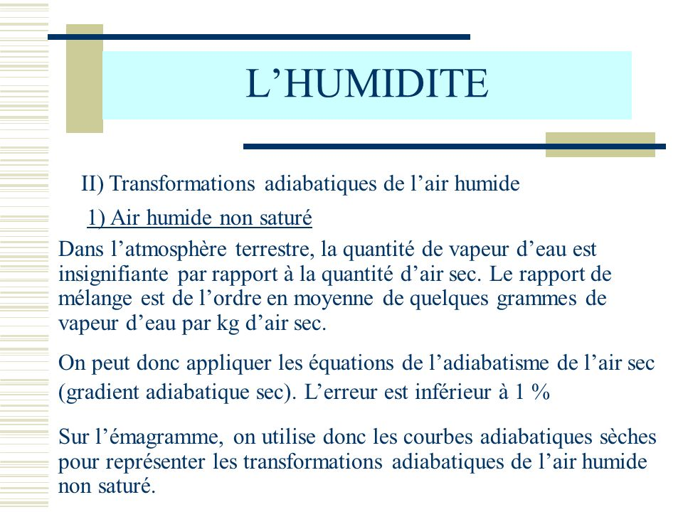 L'HUMIDITE II) Transformations adiabatiques de l'air humide