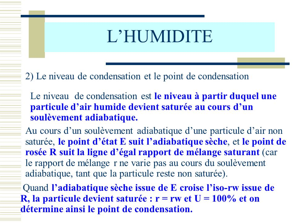 L'HUMIDITE 2) Le niveau de condensation et le point de condensation