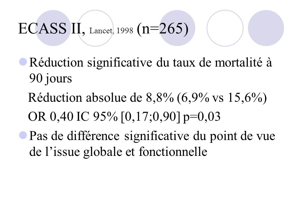 ECASS II, Lancet, 1998 (n=265) Réduction significative du taux de mortalité à 90 jours. Réduction absolue de 8,8% (6,9% vs 15,6%)