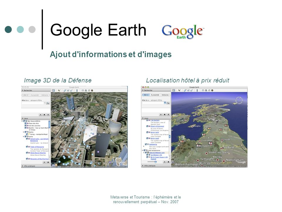Google Earth Ajout d informations et d images Image 3D de la Défense