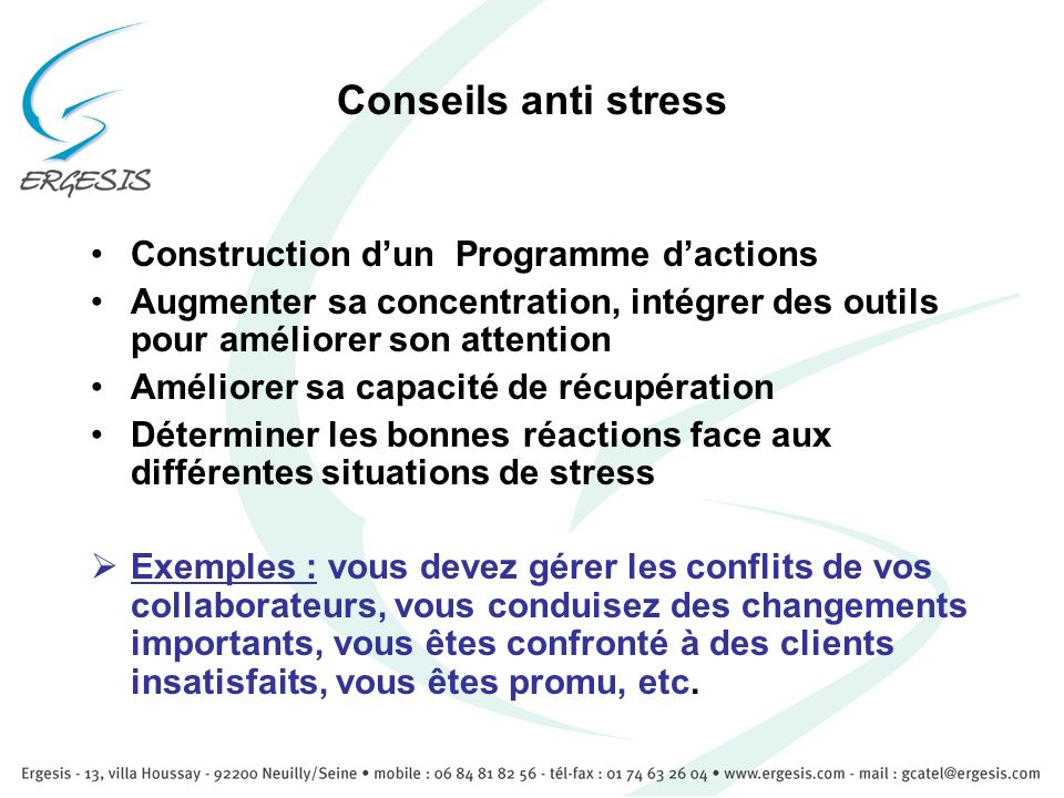 Conseils anti stress Construction d'un Programme d'actions