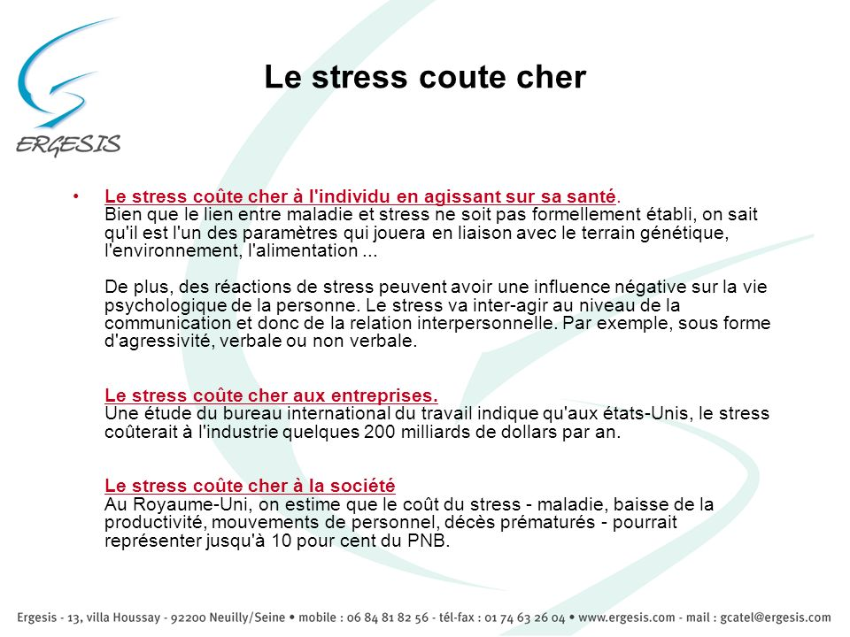 Le stress coute cher