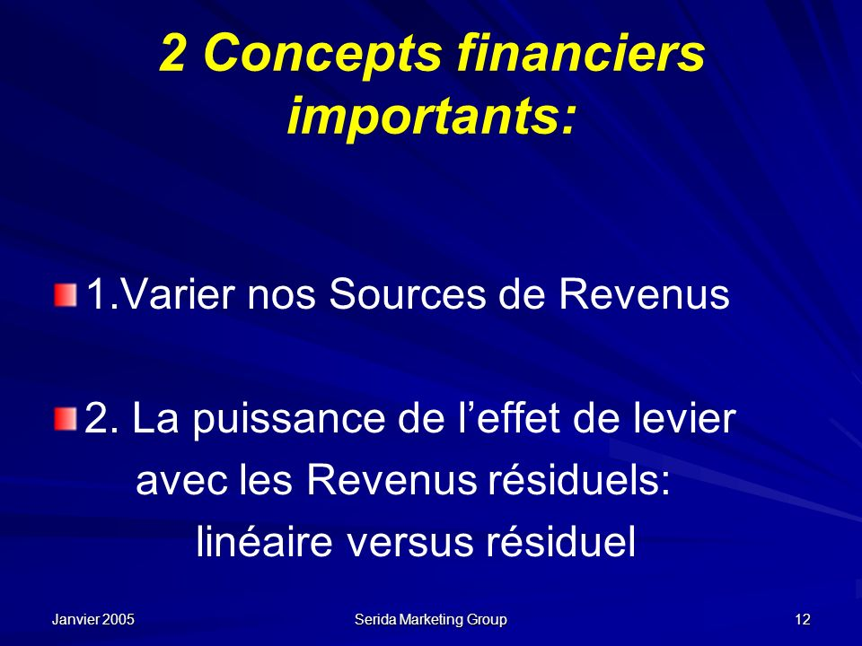 2 Concepts financiers importants:
