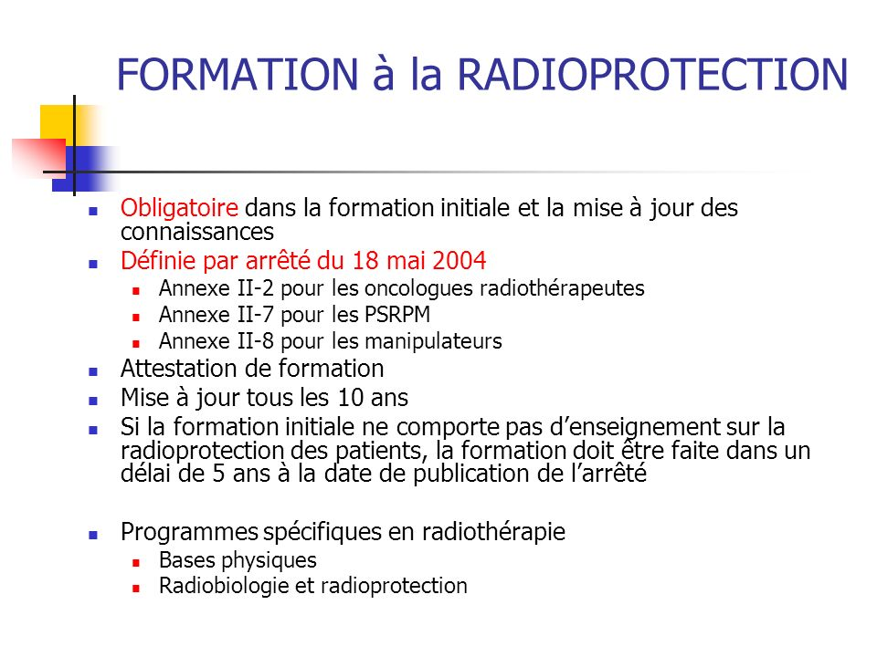 FORMATION à la RADIOPROTECTION