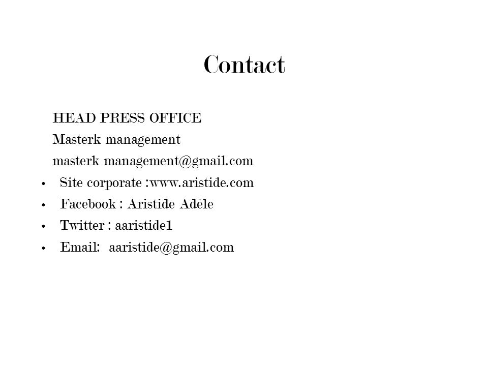 Contact HEAD PRESS OFFICE Masterk management