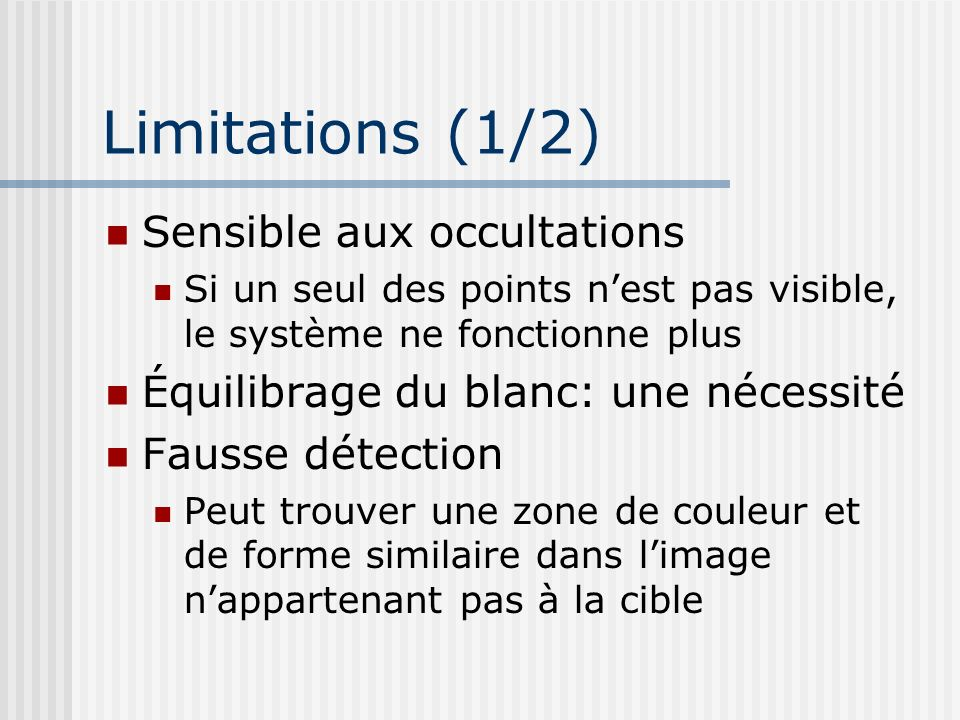 Limitations (1/2) Sensible aux occultations