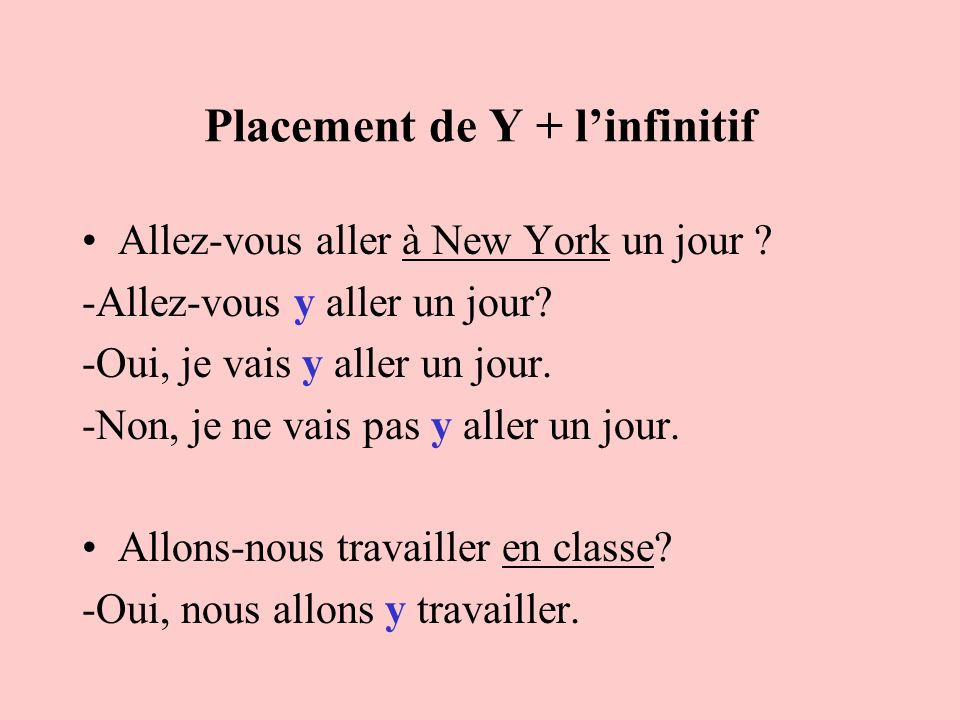 Placement de Y + l'infinitif
