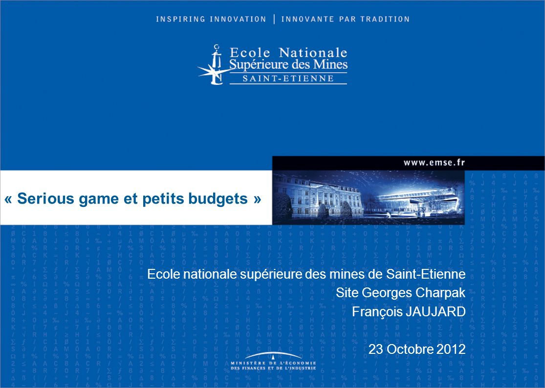 « Serious game et petits budgets »