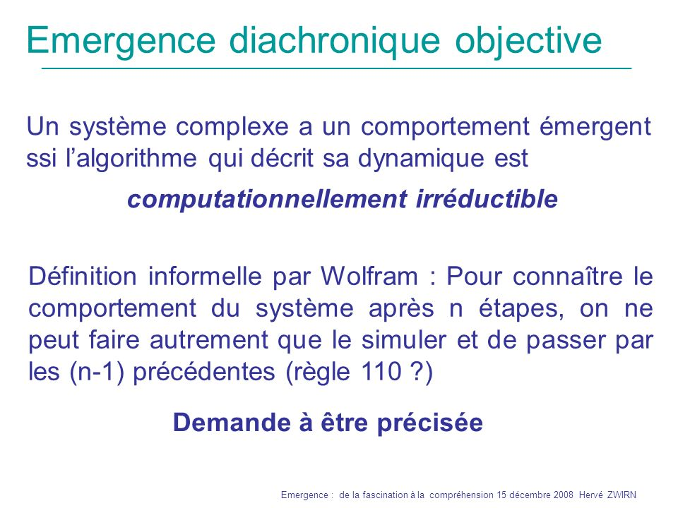 Emergence diachronique objective