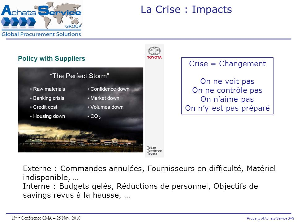 La Crise : Impacts Crise = Changement On ne voit pas
