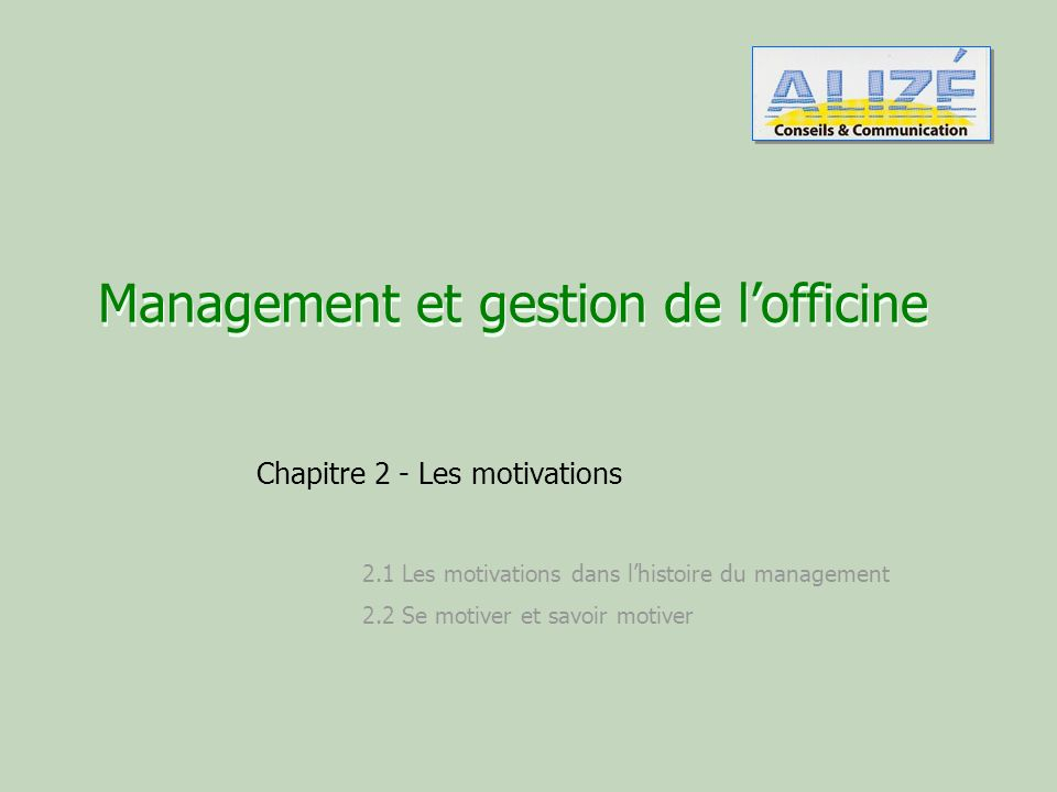 Management et gestion de l'officine