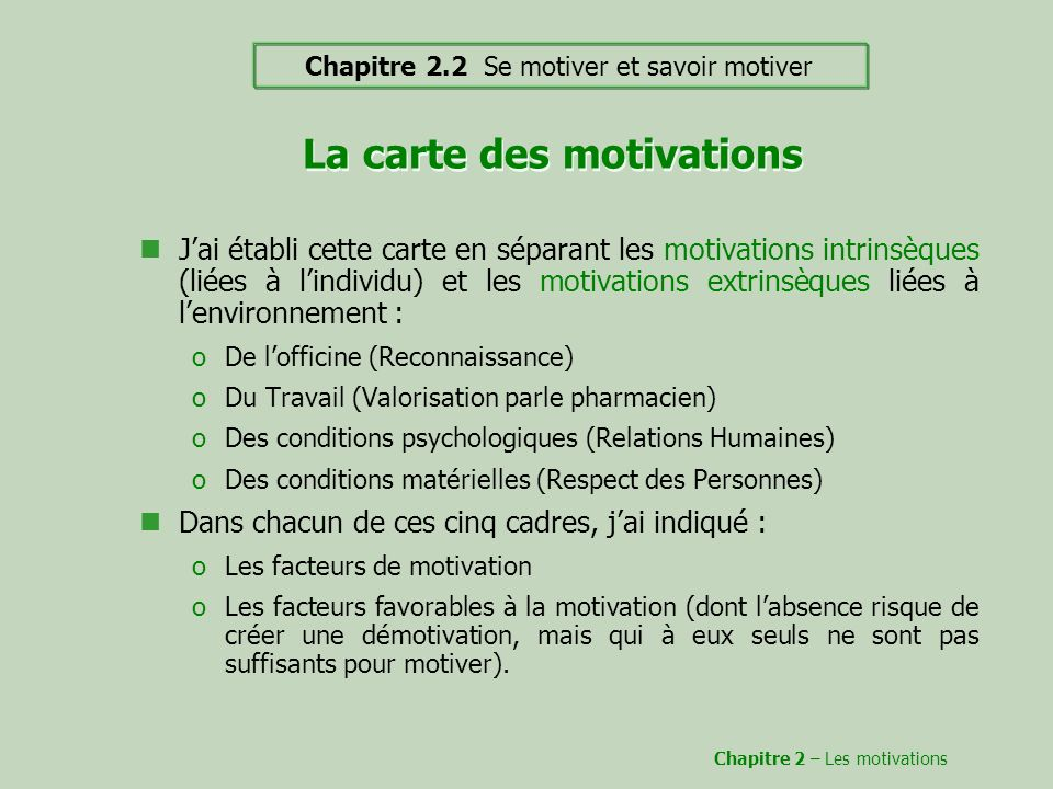 La carte des motivations