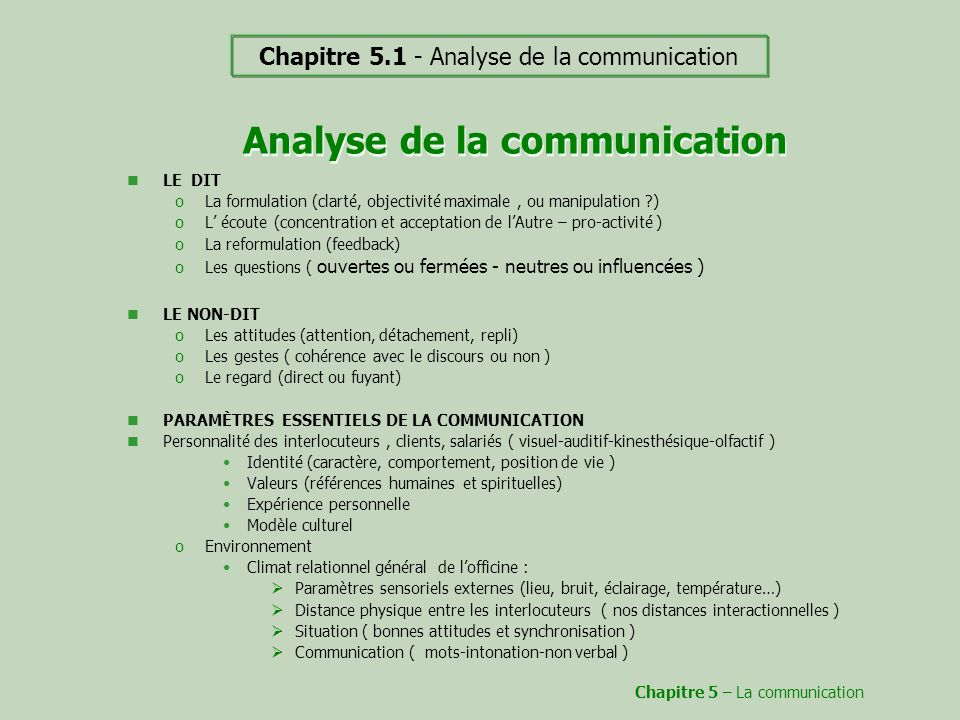 Analyse de la communication