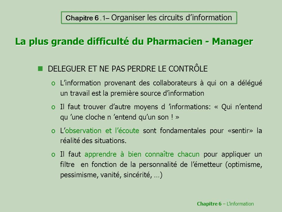 La plus grande difficulté du Pharmacien - Manager