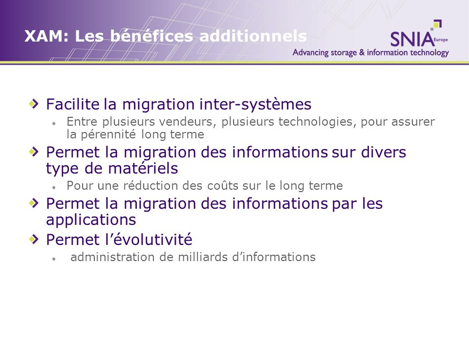 XAM: Les bénéfices additionnels