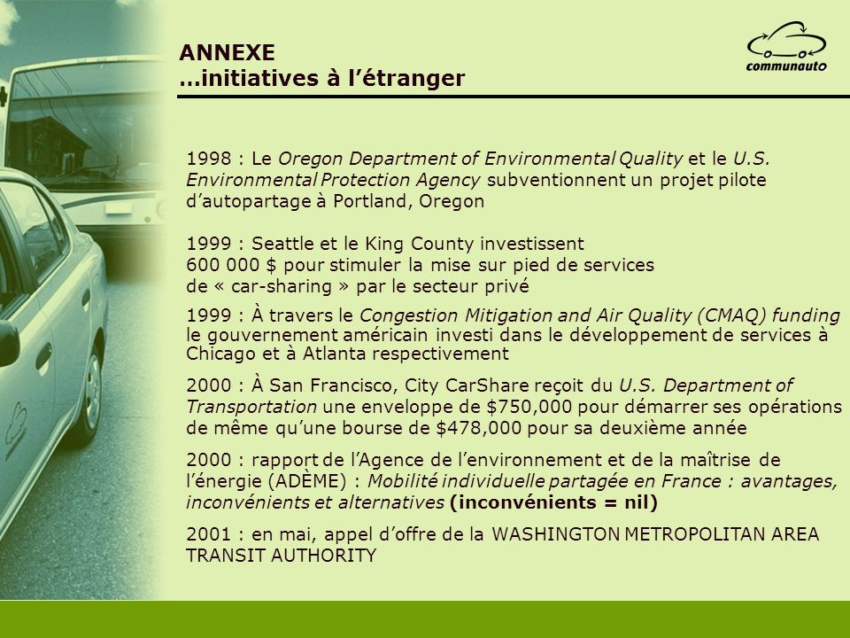 ANNEXE …initiatives à l'étranger