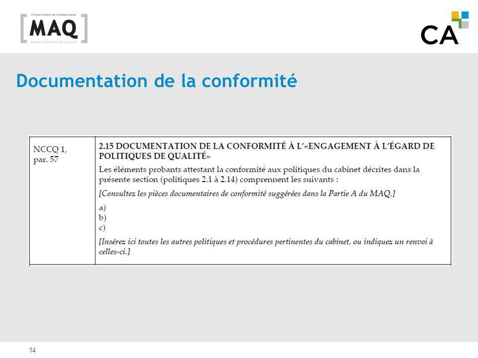 Documentation de la conformité