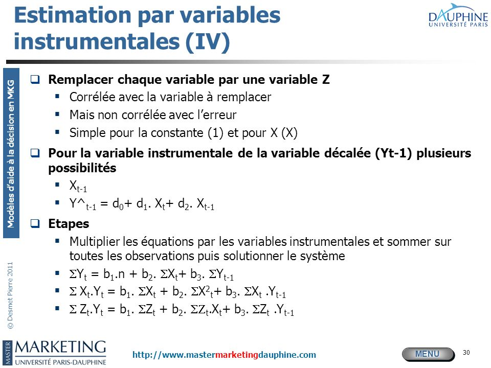 Estimation par variables instrumentales (IV)