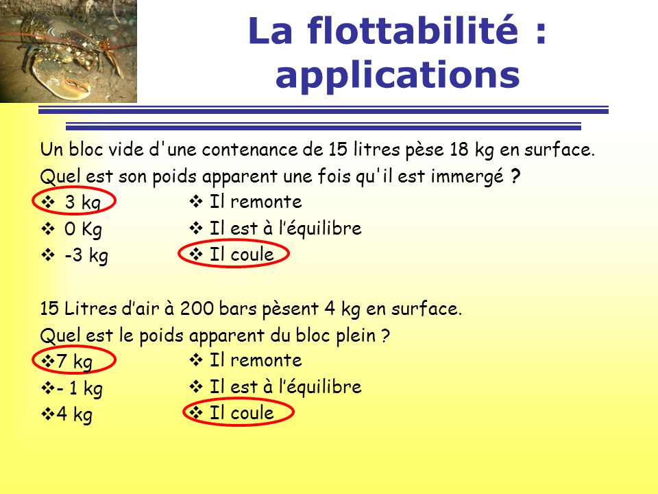 La flottabilité : applications