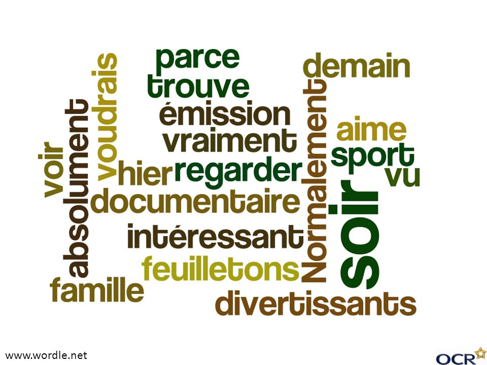 www.wordle.net Starter activity. Pupils could: guess the topic