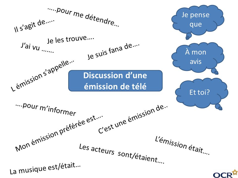 Discussion d'une émission de télé