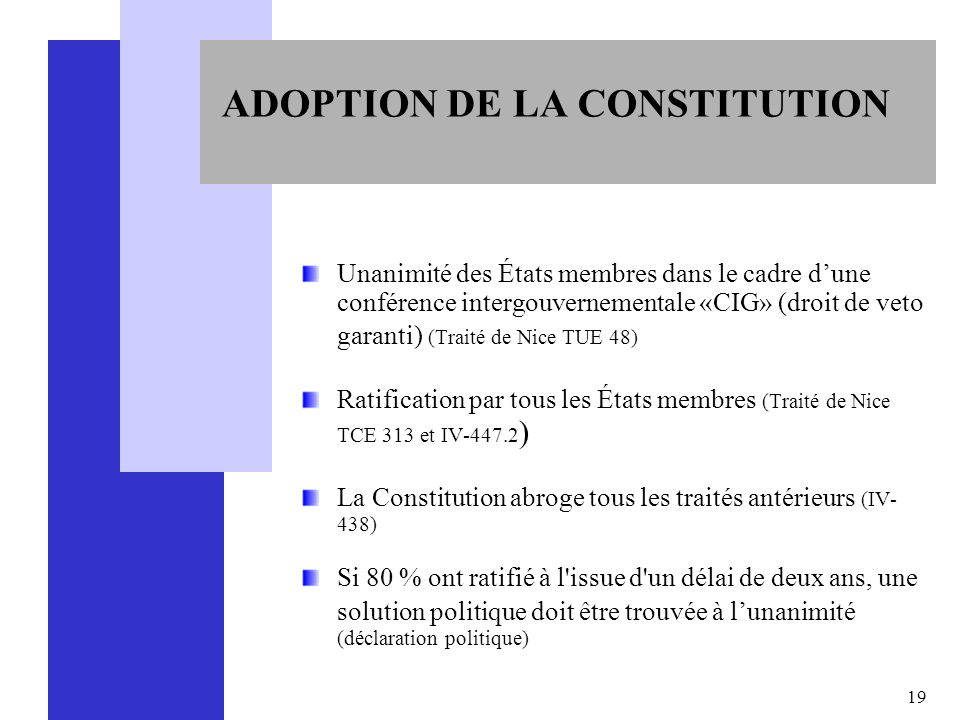 ADOPTION DE LA CONSTITUTION