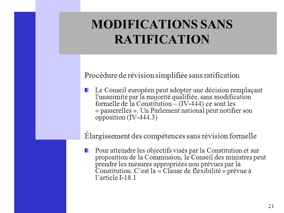 MODIFICATIONS SANS RATIFICATION