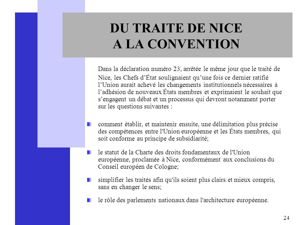 DU TRAITE DE NICE A LA CONVENTION